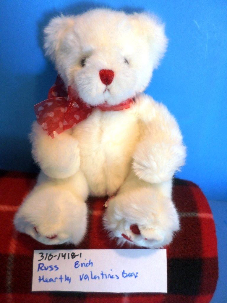 Russ Heartly White Valentines Teddy Bear Beanbag Plush