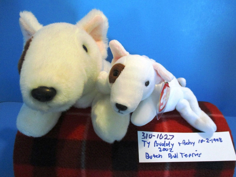 Ty Beanie Buddy 2002 and Baby 1998 Butch Bull Terrier Beanbag Plushes