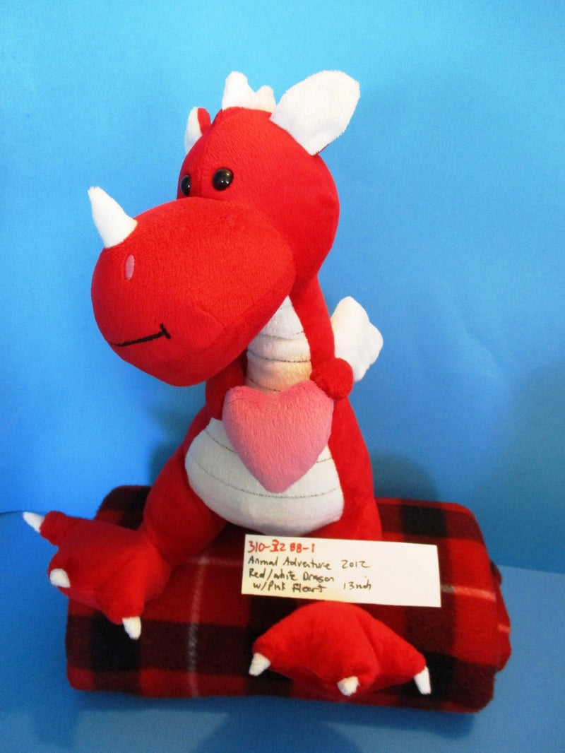 Animal Adventure Red and White Dragon With Pink Heart 2012 Plush