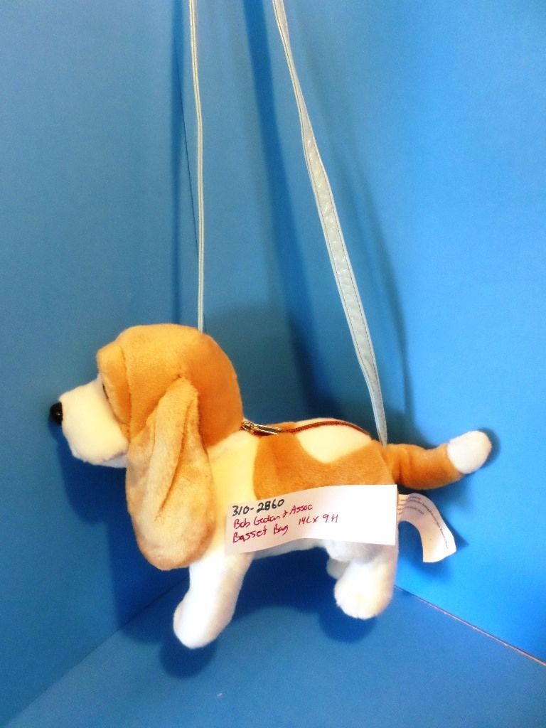 Bob Gedan Tan and White Basset Hound Dog Bag Purse Plush