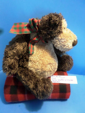 Gund Marley Brown Teddy Bear with Green and Red Plaid Scarf beanbag plush (310-3227)