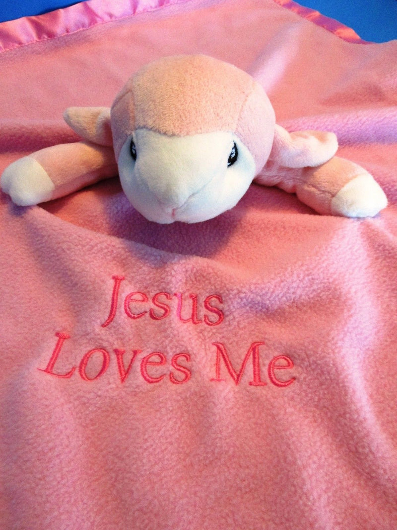 Enesco Precious Moments Pink Lamb Jesus Loves Me 2008 Security Blanket