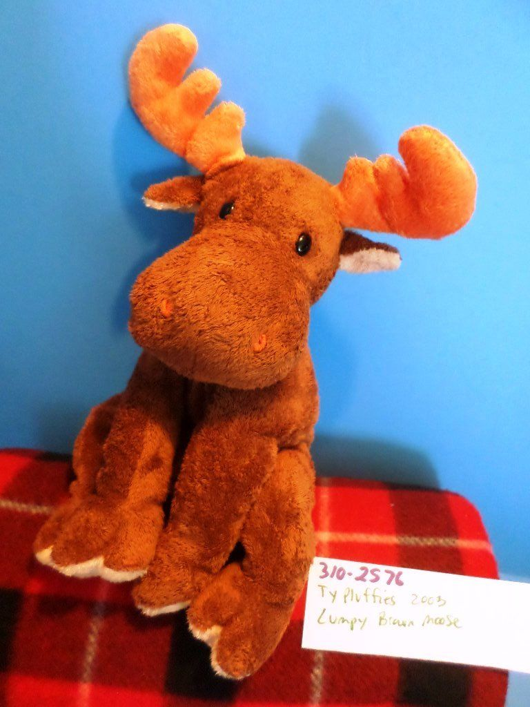 Ty Pluffies Lumpy the Brown Moose 2003 Beanbag Plush