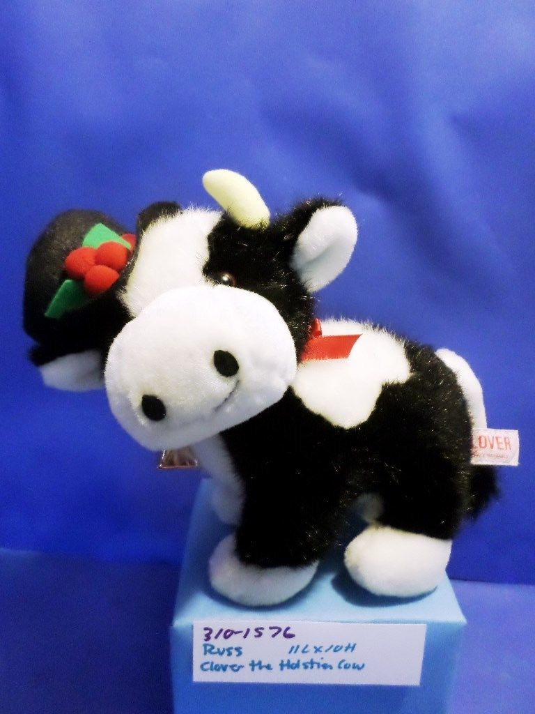 Russ Clover Holstein Cow With Black Hat Plush
