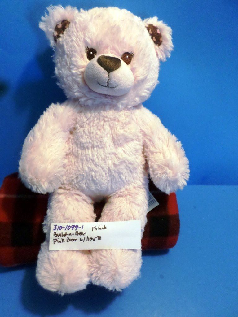 Build-A-Bear Pink and Brown Bear with Hearts on Feet Plush