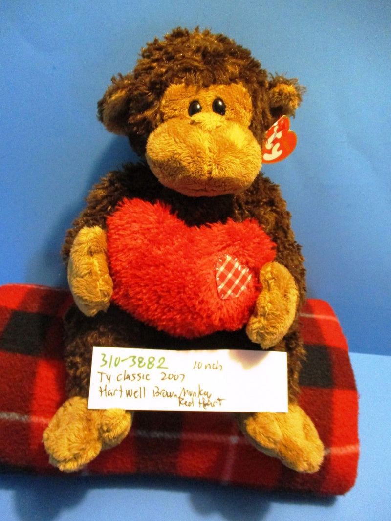 Ty Classic Hartwell Brown Monkey With Red Heart 2007 Beanbag Plush