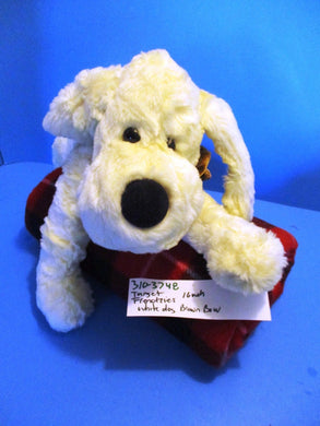 Target Friendzies White Dog With Brown Bow Beanbag Plush