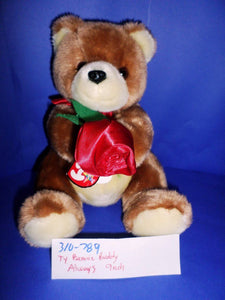 Ty Beanie Buddy Always Brown Bear with Red Rose 2005(310-789)