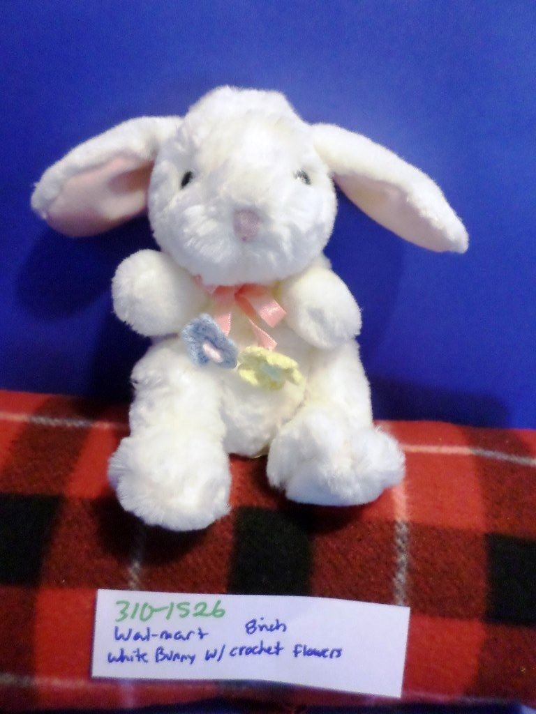 Walmart White Bunny Rabbit with Crocheted Flowers Beanbag Plush