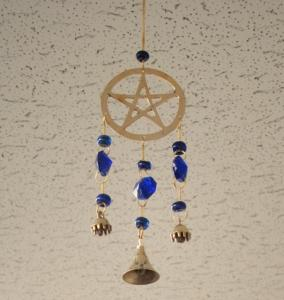 "Pentacle Wind Chime w/ Beads 12""L"