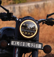 Raceby 7 Inch 12 LED Headlights with ring on Royal Enfield Motorcycles