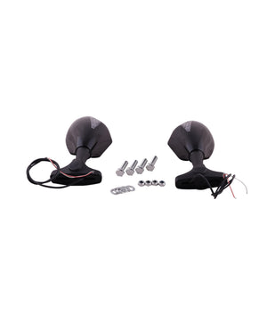 Universal Motorcycle Indicator Rear View Mirrors-Black