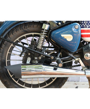 Moto Torque Shark Half Chrome Exhausts and Silencers for Royal Enfield Classic Standard and Electra