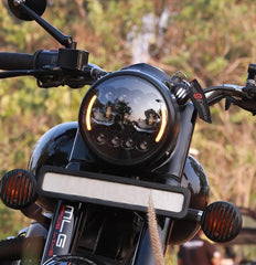 Raceby 7 Inch 11 LED With Side Indicator Headlight for Royal Enfield Motorcycles