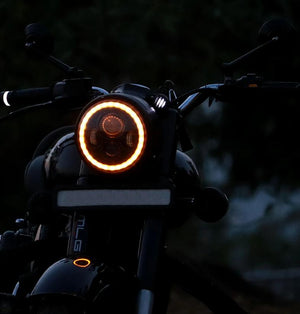 Spitfire 7 Inch 4 LED Dual Ring Headlight on Royal Enfield