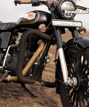 Square Bend With Black Rope Crash Guards For Royal Enfield Classic Standard Electra And Tbt