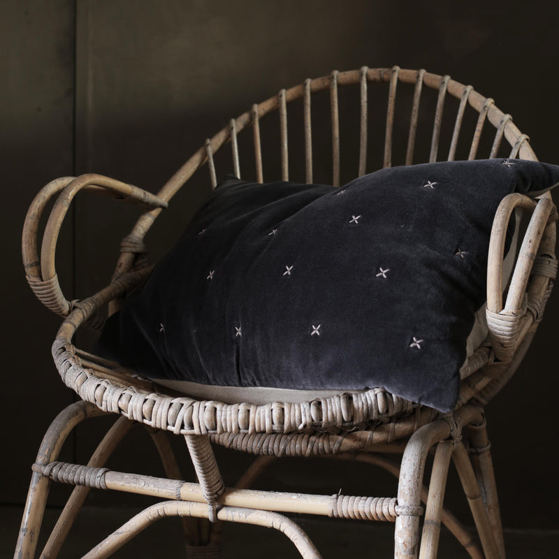Aby Dark Grey Velvet Criss Cross Cushion
