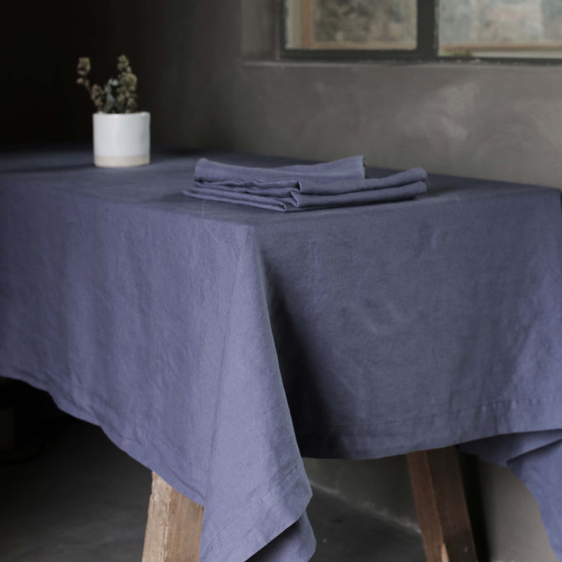 Garment Washed 100% Linen Tablecloth Aegean Blue