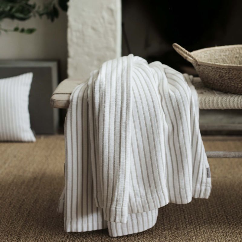 Hikari Taupe Stripe Cotton Throw