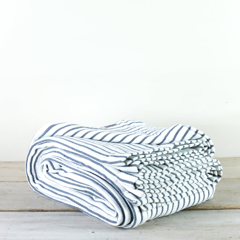Hikari Blue Stripe Cotton Throw
