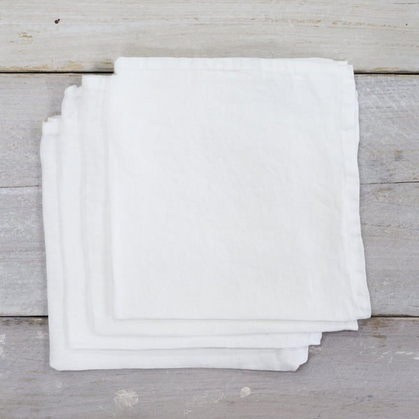 Garment Washed 100% Linen Napkin Set White