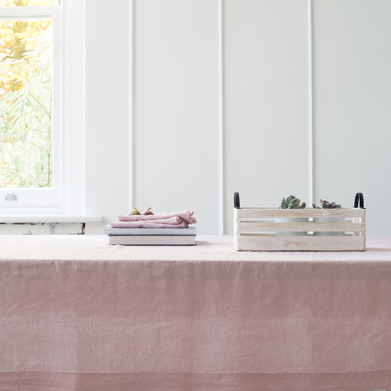 Garment Washed 100% Linen Tablecloth Blush Pink