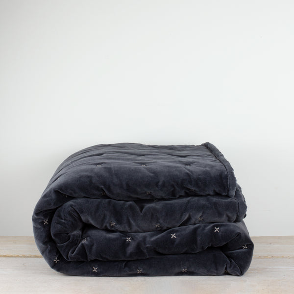 Aby Dark Grey Velvet Criss Cross Bedspread