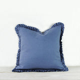 Oli Ruffle 100% Linen Cushion Aegean Blue