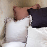 Olivia Ruffle 100% Linen Pillow Slate Grey