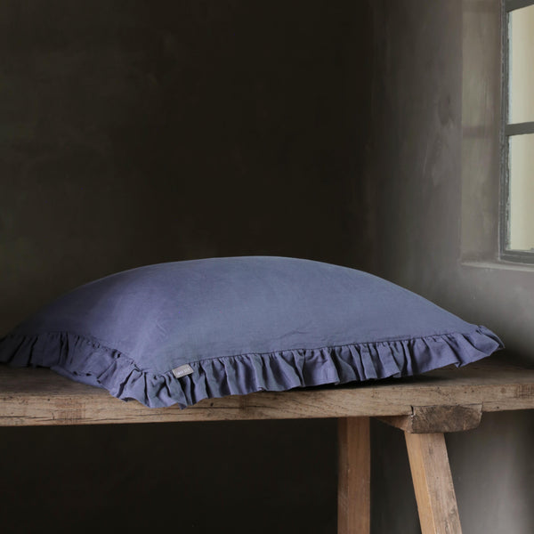 Olivia Ruffle Pillow Aegean Blue