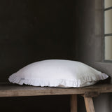 Olivia Ruffle 100% Linen Pillow White