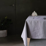 Garment Washed 100% Linen Tablecloth Pewter Grey