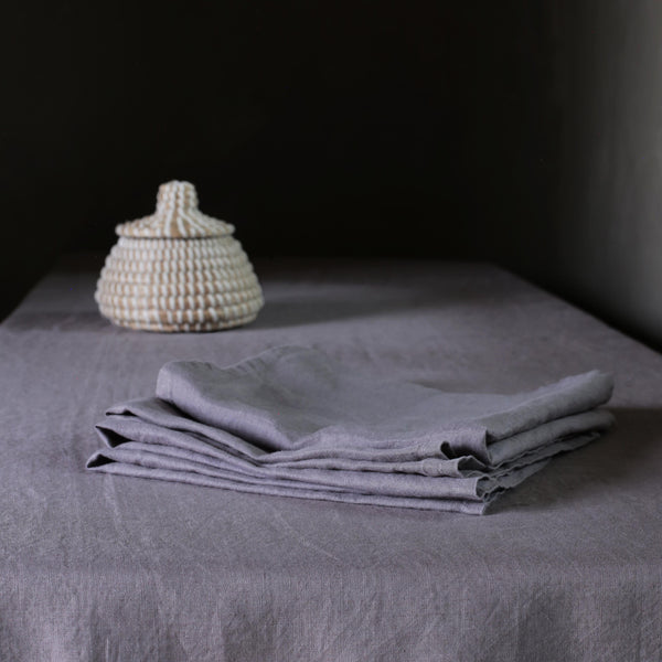 Garment Washed Pewter Grey 100% Linen Napkin Set
