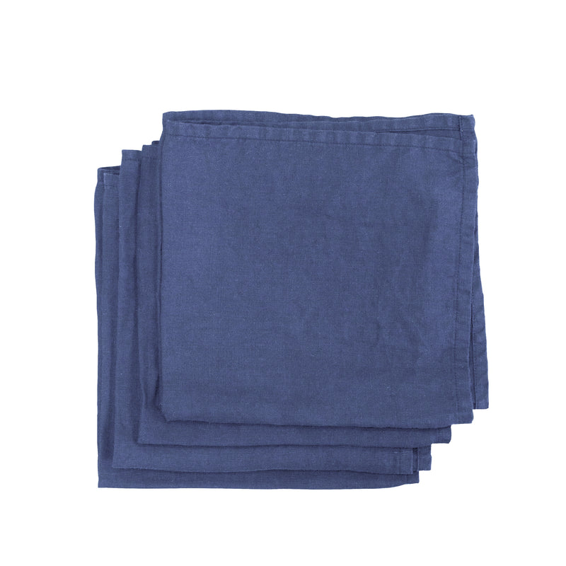 Aegean Blue Garment Washed 100% Linen Napkin Set ALSO Home