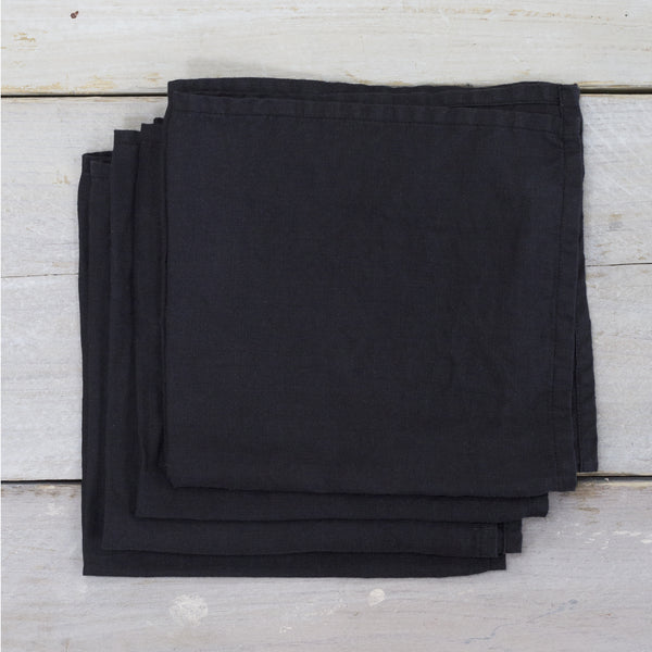 Black Garment Washed 100% Linen Napkin Set Of 4