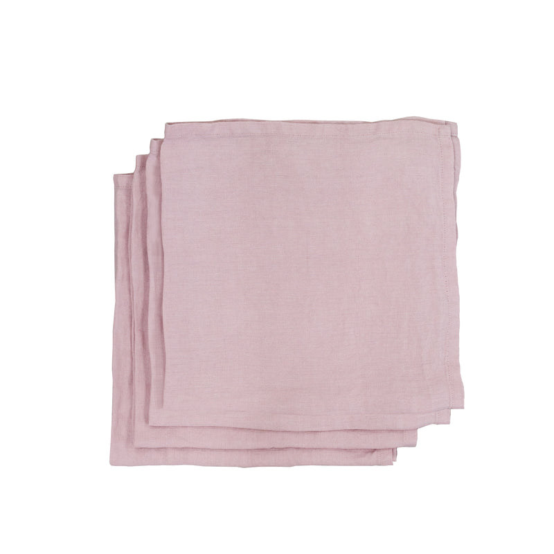 Garment Washed 100% Linen Napkin Set Blush Pink