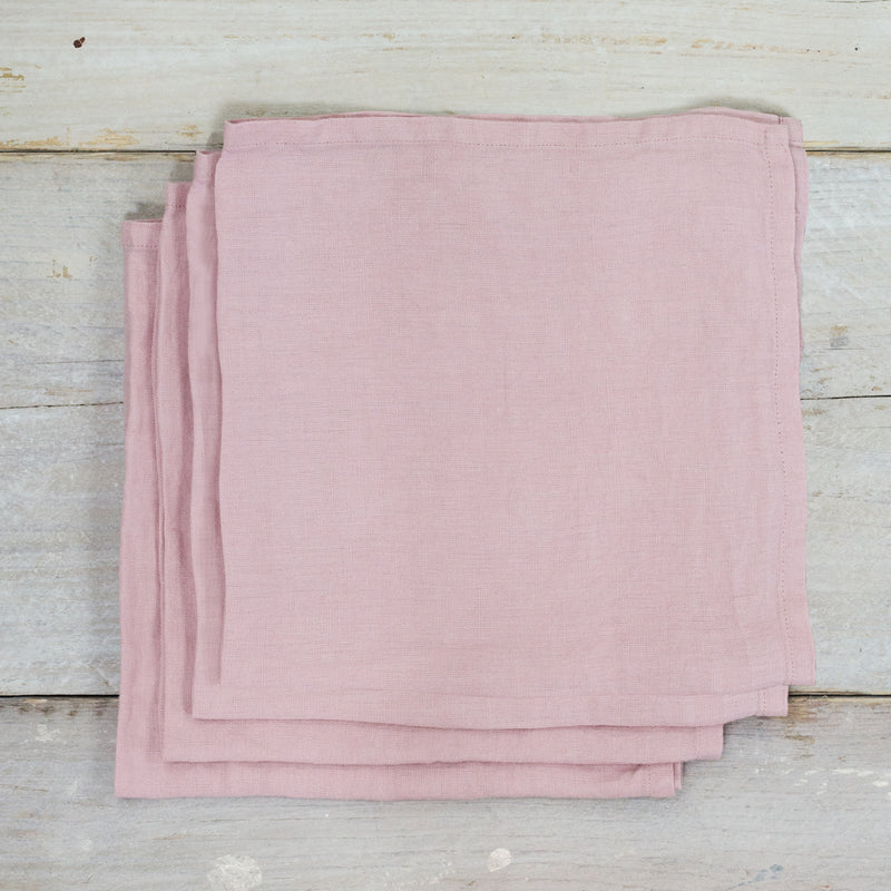 Blush Pink Garment Washed 100% Linen Napkin Set