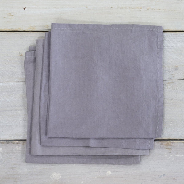 Garment Washed 100% Linen Napkin Set Pewter Grey 100% Linen Napkin Set