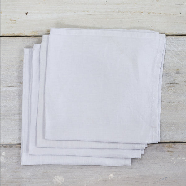 Garment Washed 100% Linen Napkin Set Silver Grey