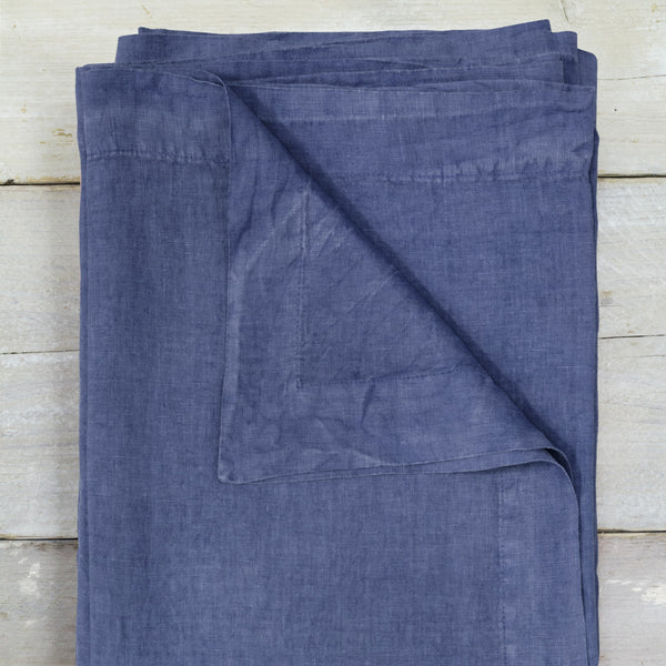 Aegean Blue Garment Washed 100% Linen Tablecloth ALSO Home