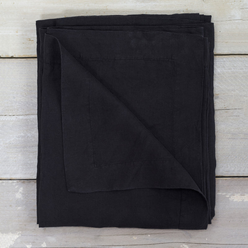 Black Garment Washed 100% Linen Tablecloth