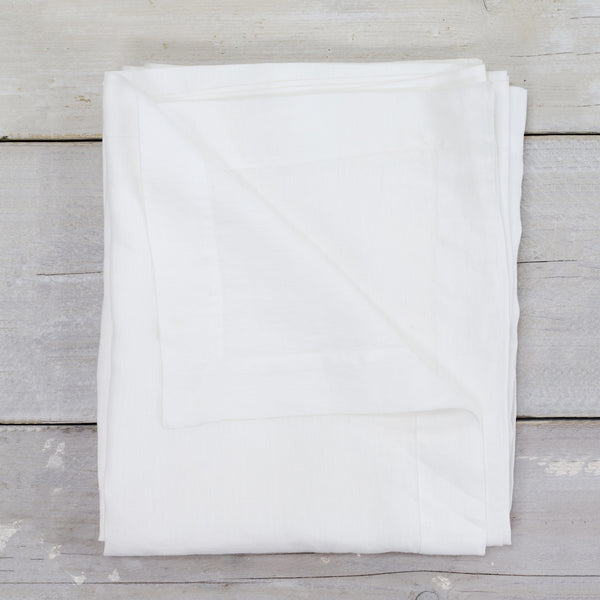 Garment Washed 100% Linen Tablecloth White