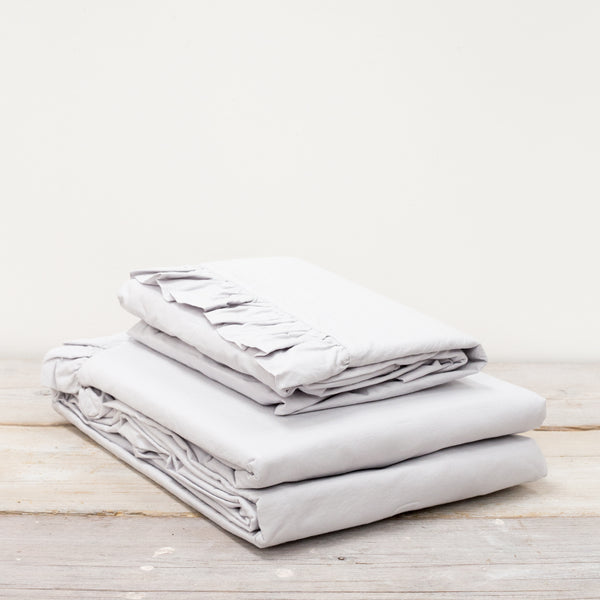 Malmo Ruffle 100% Cotton Silver Grey Bed Linen