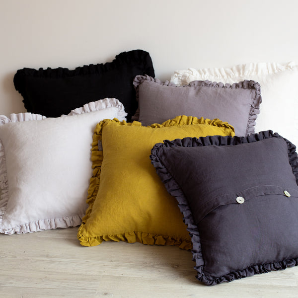 Oli Ruffle 100% Linen Cushion Black