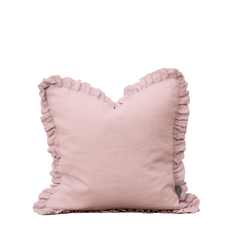Oli Ruffle 100% Linen Cushion Blush