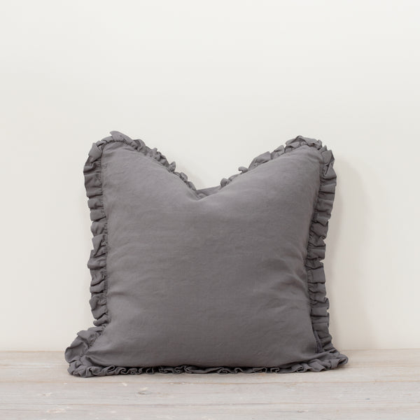 Oli Ruffle 100% Linen Cushion Pewter Grey