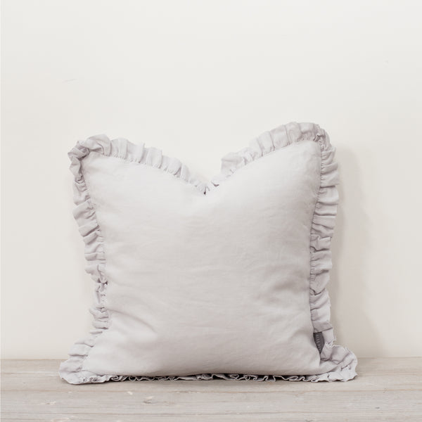 Oli Ruffle 100% Linen Cushion Silver Grey
