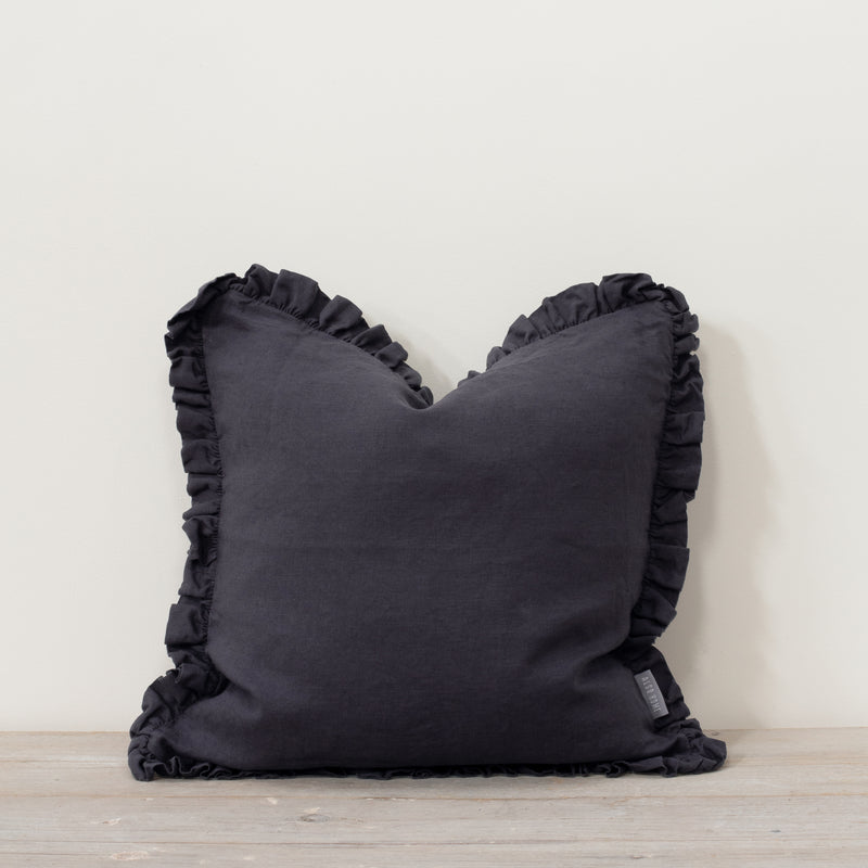 Oli Ruffle 100% Linen Cushion Slate Grey