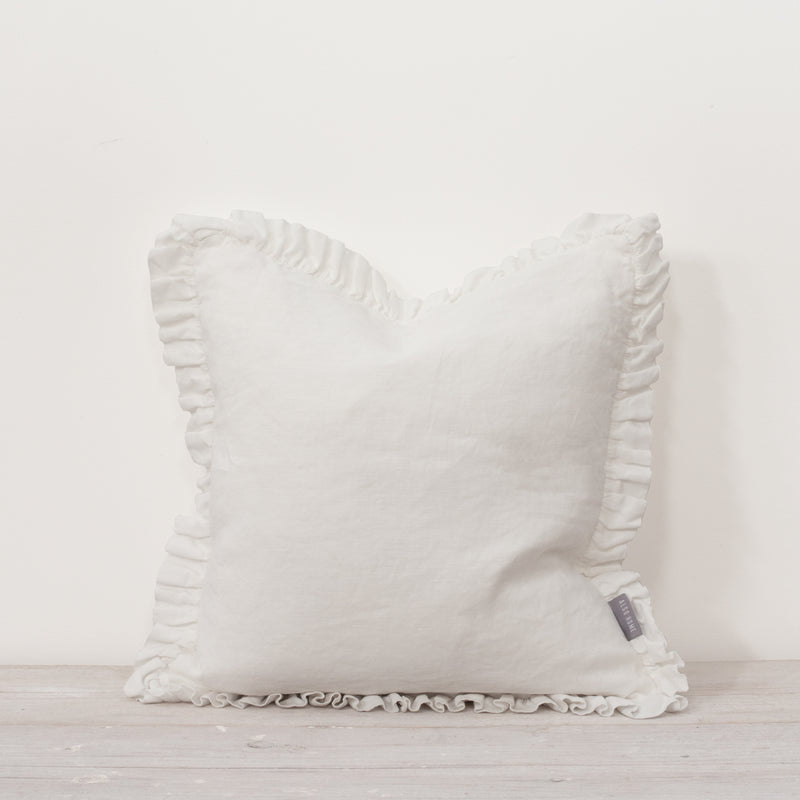 Oli Ruffle 100% Linen Cushion White