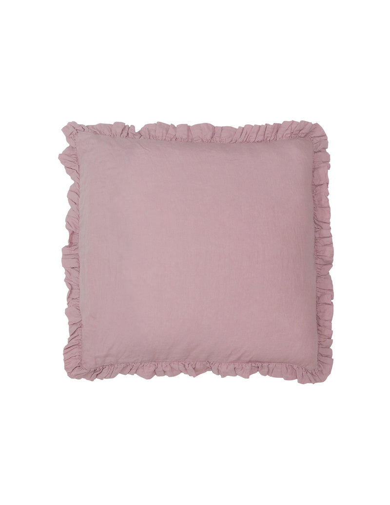 Olivia Ruffle 100% Linen Pillow Blush